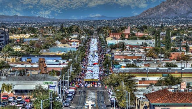 An aerial view of the Fourth Avenue Street Fair in Tucson.