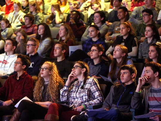 Students from around the state to watch a live kidney surgery by Dr. Stuart Gaffer from Saint Barnabas Medical Center at the Liberty Science Center in their High Definition Interactive Theater.  February 28, 2017, Jersey City, NJ.