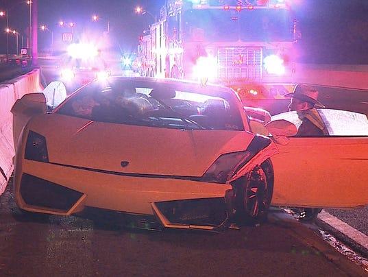 Rented Lamborghini Wrecked Left On Roadway