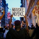 Protest in support of the Black lives matter movement in New York on July 9, 2016.