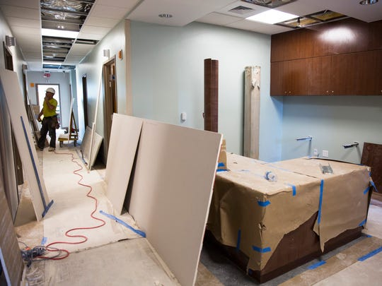 Construction continues on the first floor of Landmark Hospital in North Naples, Florida on Monday, Dec. 19, 2016. NCH Healthcare System is leasing the entire first floor, about 40,000 square feet, to offer endoscopy, wound care and other outpatient services.