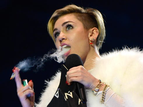 Miley tweeted the morning after smoking a joint on the EMA stage in Amsterdam: