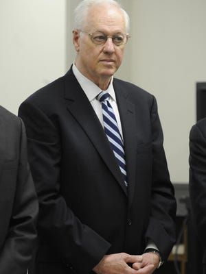 This Oct 7, 2010 file photo shows former New York Comptroller Alan Hevesi, as he is arraigned in Manhattan criminal court, in New York. Forced from office in 2006 after admitting he had a state employee chauffeur his wife, Hevesi now faces the possibility of prison after also pleading guilty to a second felony charge for partaking in a feast of influence-peddling at the giant state pension fund he oversaw.