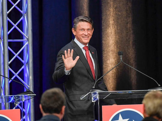 Republican GOP Candidate Randy Boyd is introduced to