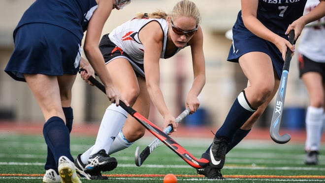 Kyra Heap, seen here in a file photo, had three goals and three assists for Central York on Thursday in an 11-0 win over Dover. DISPATCH FILE PHOTO