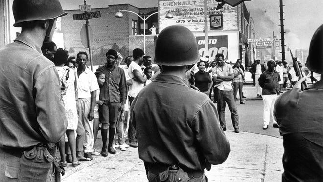 Troops on Linwood Avenue in Detroit in July 1967.