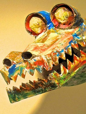 """""""Friend Dragon,"""" paper sculpture by Don Brink, part of the new exhibit at Meadows Art Gallery in Sister Bay."""
