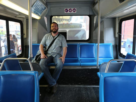 Watchdog reporter Amos Bridges had his choice of seats after boarding the 1:35 p.m. Line 12 bus at the downtown transfer station on Wednesday.