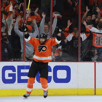 Jake Voracek survived a big open-ice hit and won the