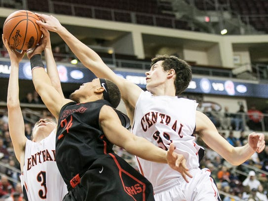 Central York players Landyn Ray,left, and Evan Czulada