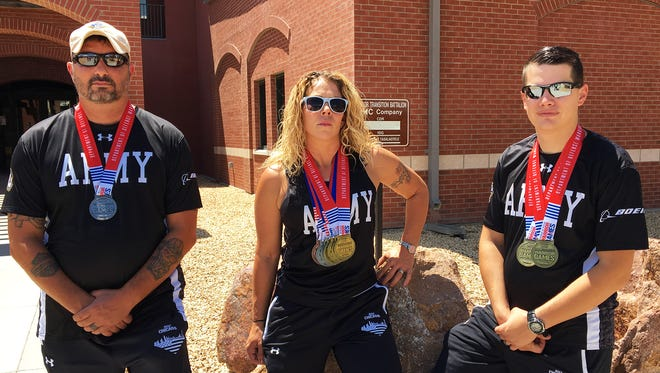 """From left, retired Master Sgt. Shawn """"Bubba"""" Vosburg, former Sgt. Brandi Evans and Sgt. Patrick Haney represented Fort Bliss at the Warrior Games this summer."""