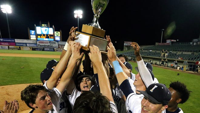 Immaculata celebrates its win in the Somerset County Tournament final on Friday, May 25, 2018 at TD Bank Ballpark in Bridgewater.
