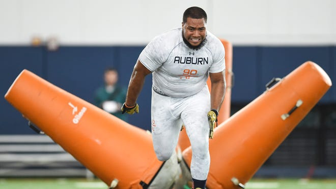 Gabe Wright rumbles through drills at Auburn Pro Day in Auburn, Ala. on Tuesday, March 3, 2015.