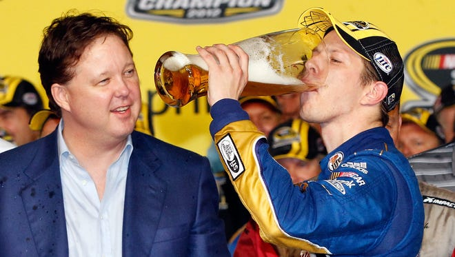 """From the """"Time Flies"""" department: It was eight years ago that Brad Keselowski celebrated his Cup championship with then-NASCAR CEO Brian France looking on."""