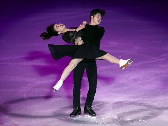 In this Nov. 20, 2016 photo, Maia Shibutani and Alex Shibutani, of the United States, perform during the gala exhibition for the Audi Cup of China ISU Grand Prix of Figure Skating 2016, in Beijing.
