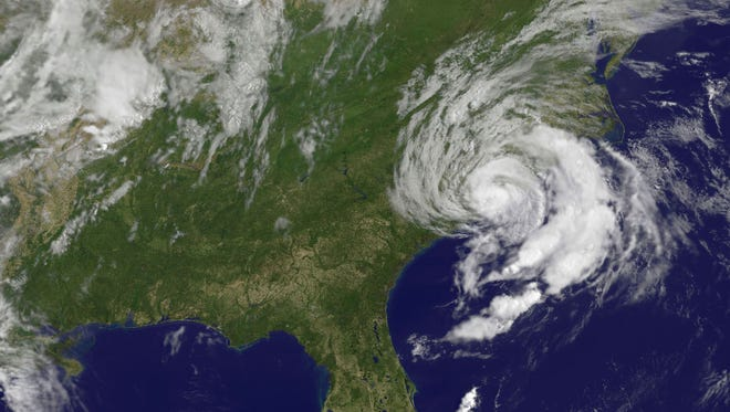 A May 10, 2015, NOAA satellite photo shows Tropical Storm Ana off the Carolinas. Ana made landfall on the U.S. Southeast coast on May 10, three weeks before the official start of the hurricane season.