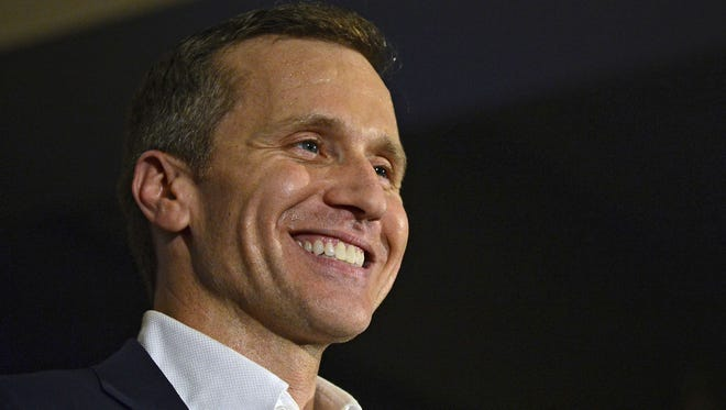 In this Nov. 8, 2016 file photo, Missouri Republican Gov.-elect Eric Greitens smiles as he delivers his victory speech in Chesterfield, Mo.