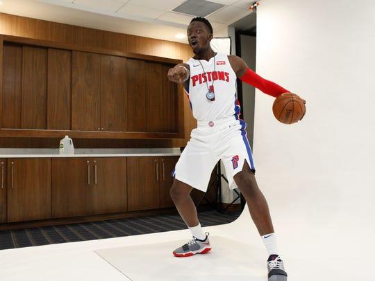 Pistons point Reggie Jackson poses during media day