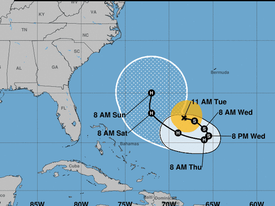 The predicted forecast track of Jose in the western