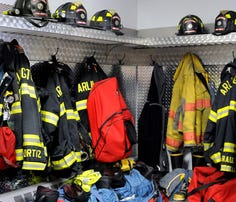 The room where firefighter turnout gear is stored at the Croft Corners Fire Company in the Spackenkill community. Croft Corners is part of the Arlington Fire District.