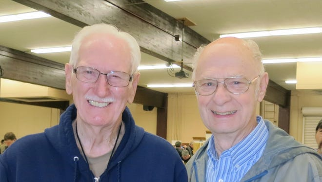 Red Passman of Cottonwood (left) and Phil McDonald of Redding attend the 41st. Superior California Antique Bottle Show and Sale on Jan. 28 at the Shasta District Fair grounds in Anderson.