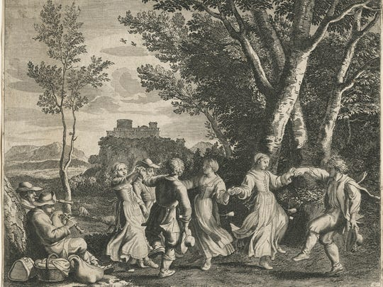"Claudine Bouzonnet Stella (French, 1636-1697), ""The Dance,"" from a series of 17 works entitled ""Pastorales"" after Jacques Stella (1596-1657), 1667. Etching and engraving. 9-1/2"" x 12-1/8"""