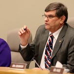 Sen. Sara Gelser and Sen. Alan Olsen ask a question during an informational hearing for the Senate Committee on Human Services and Early Childhood on the first day of the Oregon Legislature short session at the State Capitol in Salem on Monday, Feb. 1, 2016.