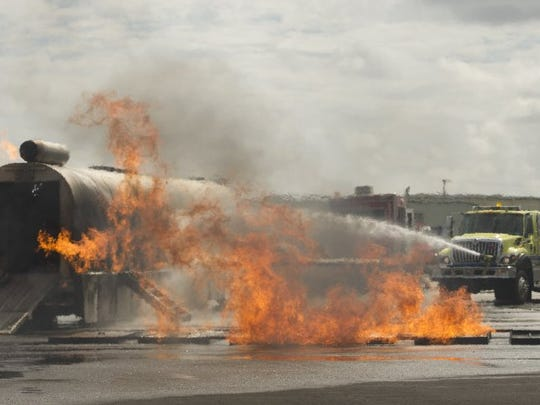 Images from a live fire training event Tuesday at the Vero Beach Regional Airport.