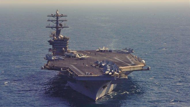 The USS Nimitz patrols the Arabian Gulf on Oct. 2