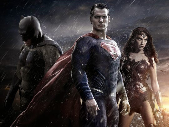 "Batman (Ben Affleck), left, Superman (Henry Cavill) and Wonder Woman (Gal Gadot) star in ""Batman v Superman: Dawn of Justice."" Despite its box-office success, the film has a 27 percent rating on the movie review site Rotten Tomatoes."