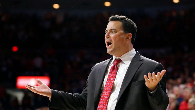 Arizona Wildcats head coach Sean Miller during action against the Gonzaga Bulldogs  on Dec. 6, 2014 in Tucson.