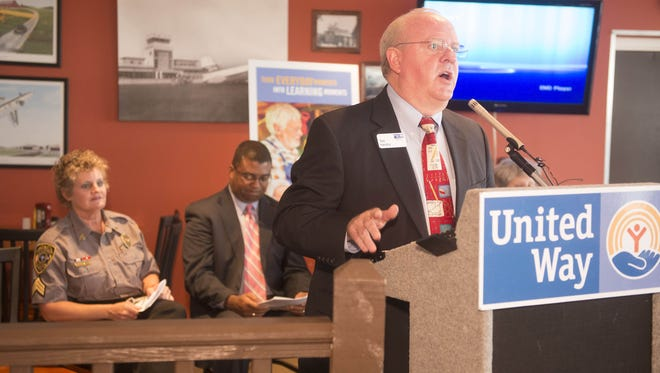 Ted Hendry speaks at the United Way Born Learning Kick-Off at Runwat Cafe in Greenville during its launch in 2013