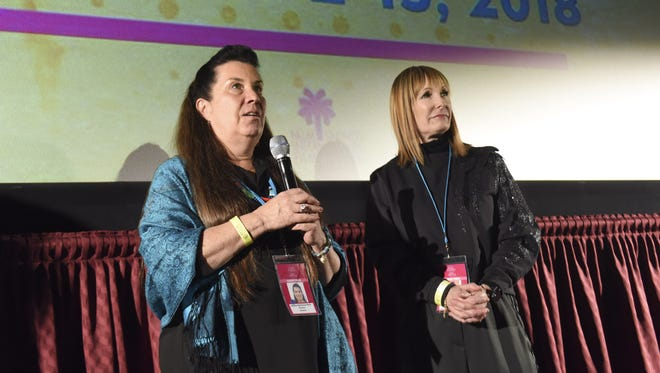 "Director Valerie Red-Horse Mohl and producer Gale Anne Hurd attend a Q&A after a screening of their film, ""Mankiller,"" Friday at the Regal Cinemas in Palm Springs."