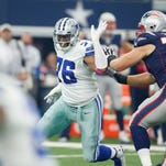 Dallas Cowboys defensive end Greg Hardy (76) chases after New England Patriots quarterback Tom Brady (12) at AT&T Stadium. Patriots won 30-6.