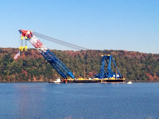 The world's largest floating crane The Left Coast Lifter navigating just South of the Yonkers train station on its way to the new Tappan Zee Bridge construction site Monday, Oct. 6.