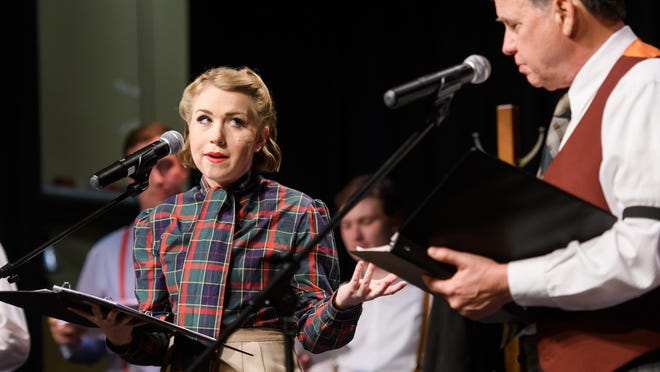 """Mississippi College student Teagan Faust plays the part of Gracie Allen opposite George Burns, played by MC journalism professor Tim Nicholas, during a recent performance of """"AM in the PM: an Evening of Old Time Radio"""" at MC's Aven Little Theater."""