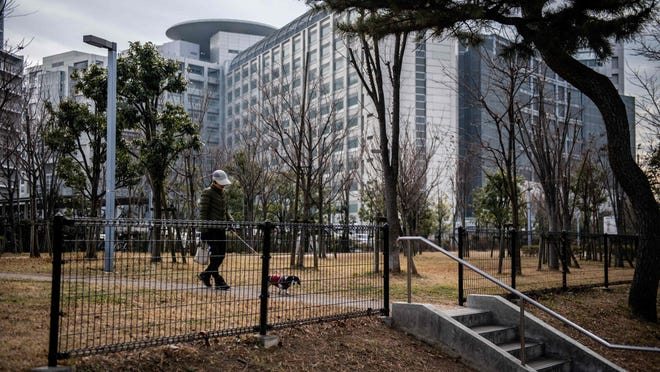 A woman walks with her dog in front of the Tokyo detention house, where former Nissan chairman Carlos Ghosn is being held, on January 31, 2019.