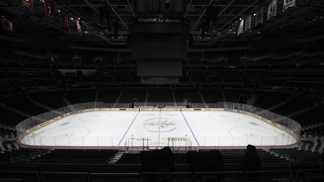 Capital One Arena, home of the Washington Capitals, is empty on March 12. That was the day the NHL paused its season because of the coronavirus pandemic. AP Photo/Nick Wass