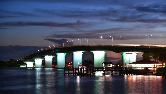 The Ringling Bridge lit up at night. The Florida Department of Transportation denied a request by Sarasota Mayor Hagen Brody to light the bridge in rainbow colors to celebrate the LGBTQ community for Pride Month.