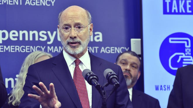 Gov. Tom Wolf of Pennsylvania speaks at a new conference at Pennsylvania Emergency Management Headquarters on March 12. Wolf announced Tuesday a Bethlehem-based testing manufacturer plans to roll-out an at-home test in the near future..