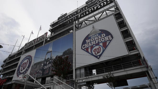 A 2019 World Series champions sign is displayed at Nationals Park opn Wednesday in Washington, D.C.
