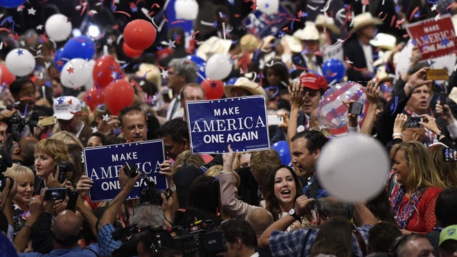 Balloons drop from the rafters after Donald Trump's acceptance speech during the 2016 Republican National Convention in Cleveland. Jacksonville is set to host portions of the 2020 convention, but residents expressed concerns in a poll.