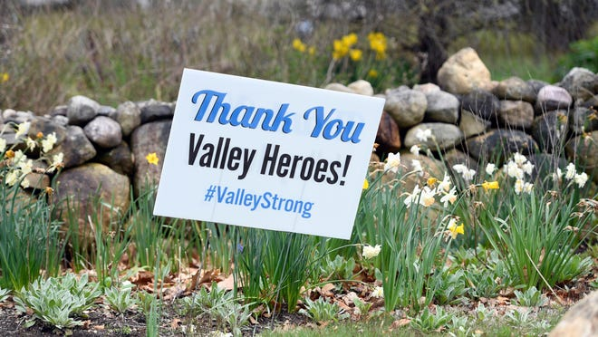 A sign thanking healthcare workers at Valley Hospital sits on the front lawn of a home on Franklin avenue in Wyckoff on Monday, April 27, 2020.