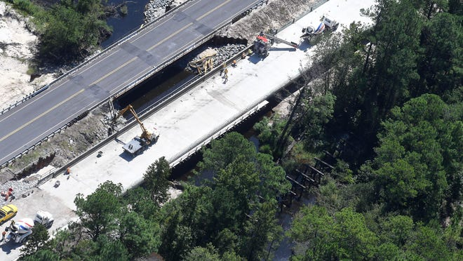 Aerial photos new bridge construction off Hwy 421 in Wilmington a year after Hurricane Florence on August 29, 2019.