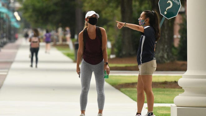 Th scene on the UNCW campus Aug. 19, the first day of classes for the fall semester.