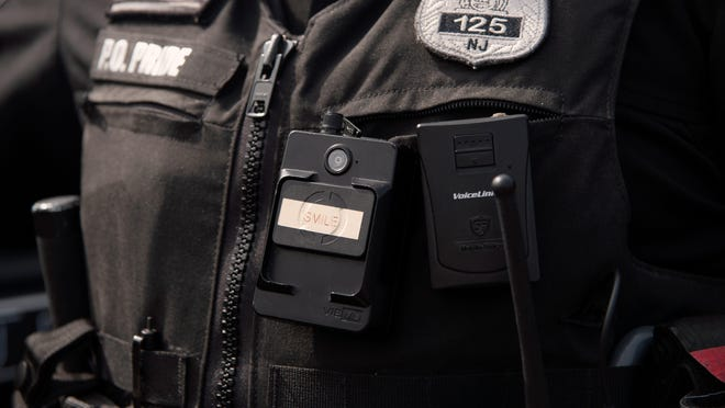 Elmwood Park Police Officer Joseph Pride wears a body camera on Tuesday, September 15, 2020.