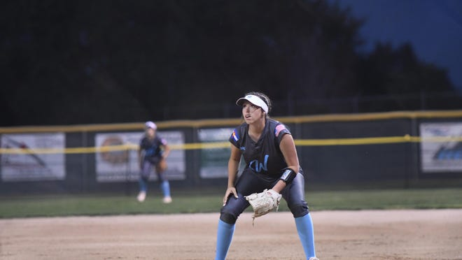 Pueblo West sophomore Mattie Eischen watches a pop fly during the Cyclones' 12-6 win over East on Sept. 17 at Diorio Field.