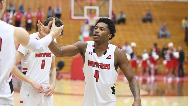Former Thayer Academy star Moses Flowers of Dorchester has been named the University of Hartford Athletics Male Newcomer of the Year. Flowers averaged 10.4 points per game this winter for the Hawks, who were set to play Vermont in the America East championship game before the coronavirus pandemic ended the season. Contributed photo