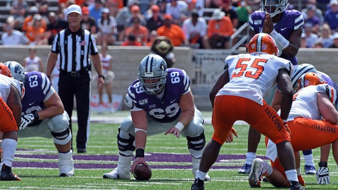 K-State senior center Noah Johnson (69) has emerged as a leader on the Wildcats' offensive line after seeing limited game action last year.