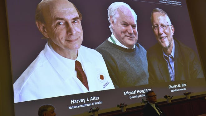 The 2020 Nobel laureates in Physiology or Medicine are announced during a news conference at the Karolinska Institute in Stockholm, Sweden, Monday Oct. 5, 2020. The prize has been awarded jointly to Harvey J. Alter, left on screen, Michael Houghton, center, and Charles M. Rice for the discovery of the Hepatitis C virus.